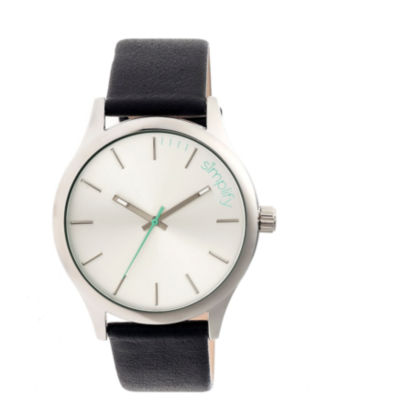 Simplify Mens The 2400 Silver Dial Leather-Band Watch SIM2401