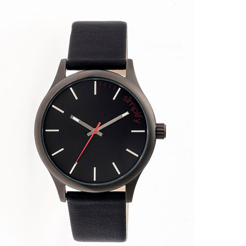 Simplify Mens The 2400 Gunmetal Dial Leather-Band Watch SIM2404