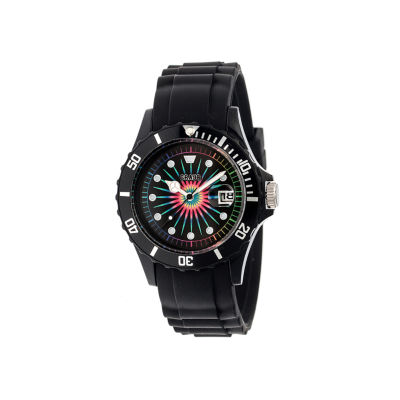 Crayo Unisex Shrine Black Silicone-Band Watch with Date