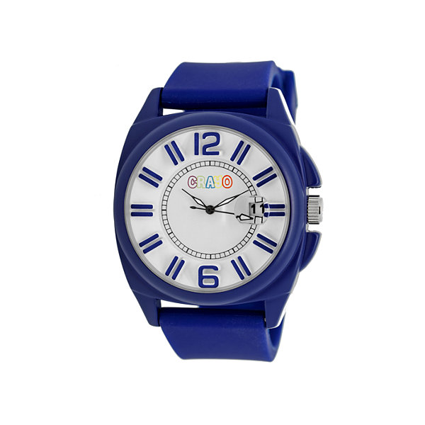 Crayo Sunset Blue Silicone-Band Watch with Date Cracr3305