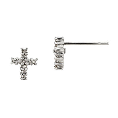 14K White Gold Diamond Accent Cross Earrings
