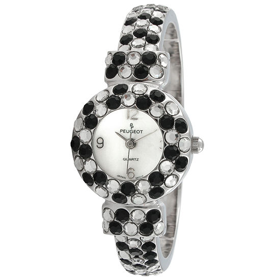 Peugeot Womens Crystal Accent Silver Tone Bangle Watch-326bk