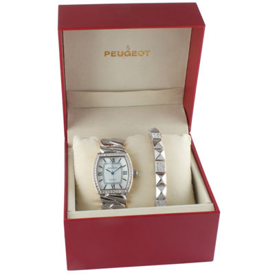 Peugeot Womens Silver Tone 2-pc. Watch Boxed Set-7099sst
