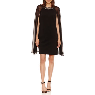 Studio 1 Sleeveless Embellished Chiffon Overlay Sheath Dress-Petites