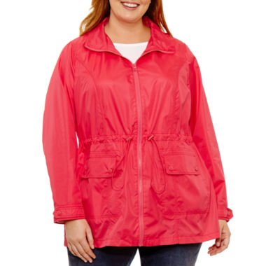 St. John's Bay Wind Resistant Water Resistant Raincoat-Plus