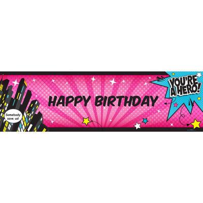 "Superhero Girl Birthday Banner Standard 18"" x 61"""