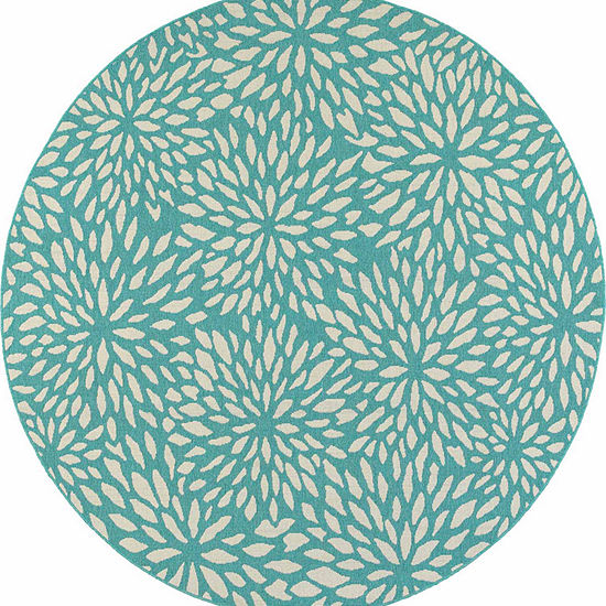 Covington Home Marathon Chrysanthemum Round Indoor Outdoor Rugs