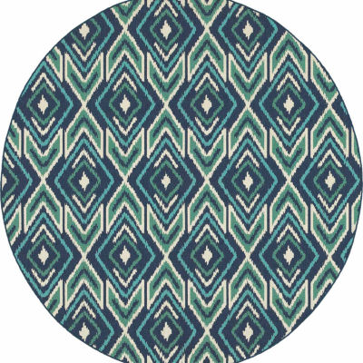 Covington Home Marathon Ikat Round Indoor/Outdoor Area Rug