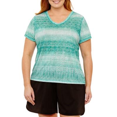 Made For Life Short Sleeve V Neck Geometric T-Shirt-Womens Plus