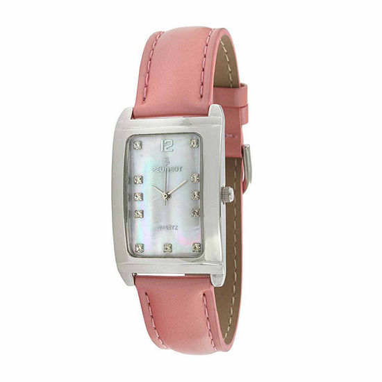Peugeot Womens Crystal Accent Pink Leather Strap Watch-330pk