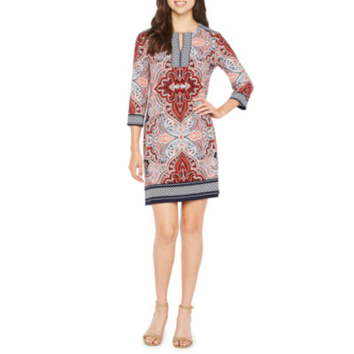 Studio 1 3/4 Sleeve Medallion Shift Dress