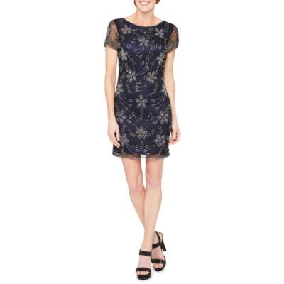 MSK Short Sleeve Beaded Floral Sheath Dress