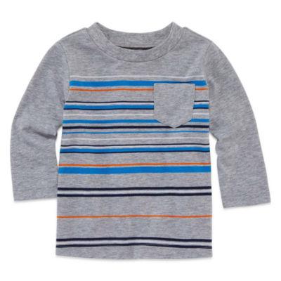 Okie Dokie Long Sleeve Stripe T-Shirt-Baby Boy NB-24M