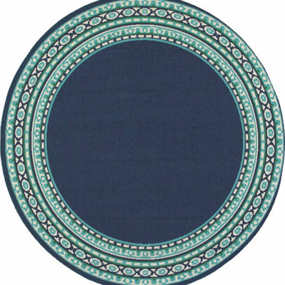 Covington Home Marathon Borders Round Indoor/Outdoor Area Rug