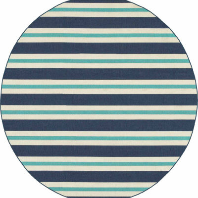 Covington Home Marathon Stripes Round Indoor/Outdoor Rugs