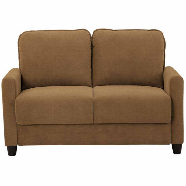 Sheffield Collection Curved Slope-Arm Upholstered Loveseat