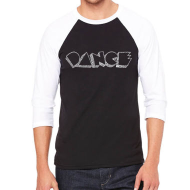 Los Angeles Pop Art Men's Big & Tall Raglan Baseball Word Art T-shirt - DIFFERENT STYLES OF DANCE