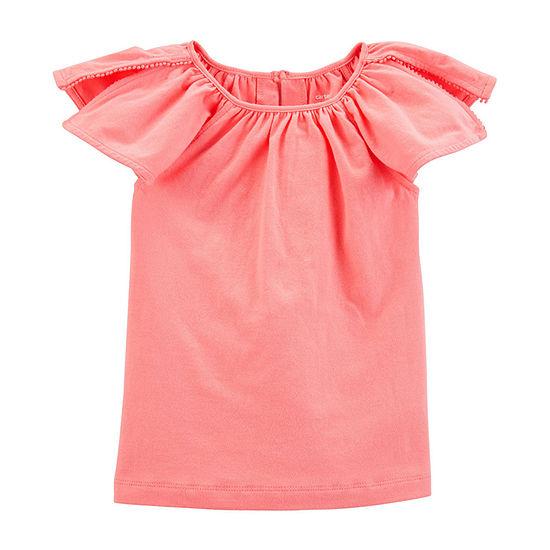 Carter's Girls Crew Neck Short Sleeve T-Shirt-Toddler