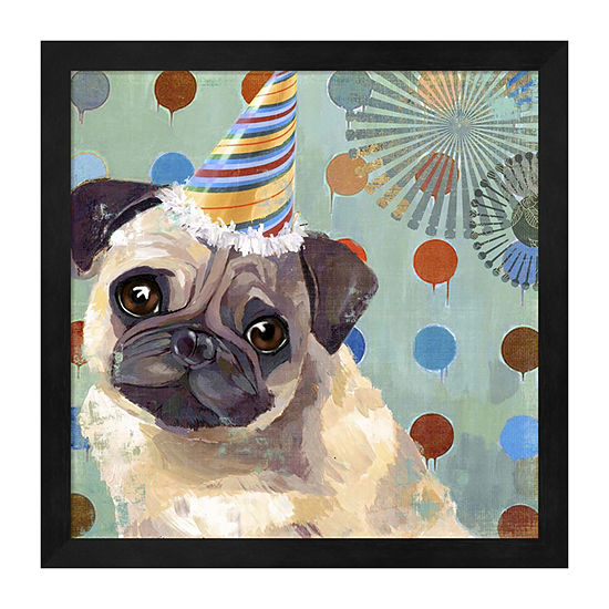 Metaverse Art Pug Love Framed Wall Art