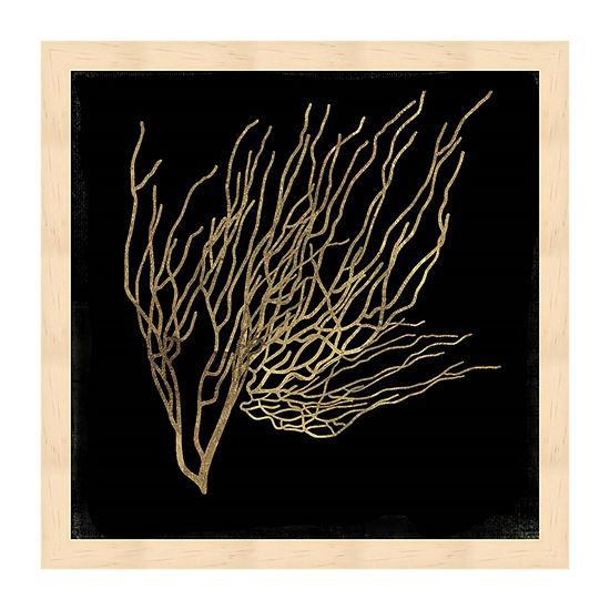 Metaverse Art Gold Coral I Framed Wall Art