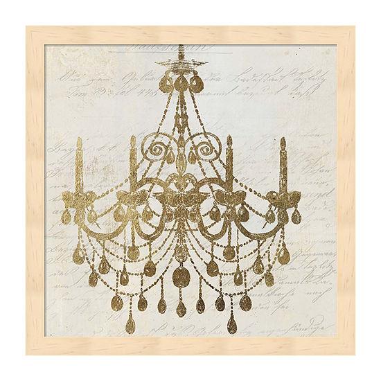 Metaverse Art Golden Chandelier II Framed Wall Art