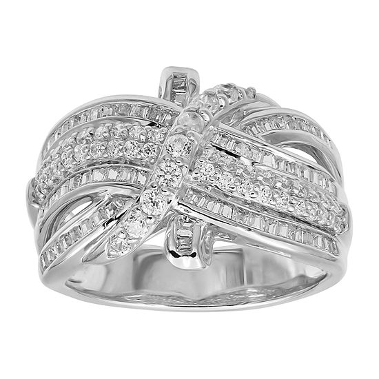 Womens 1 CT. T.W. Genuine White Diamond 10K White Gold Cocktail Ring
