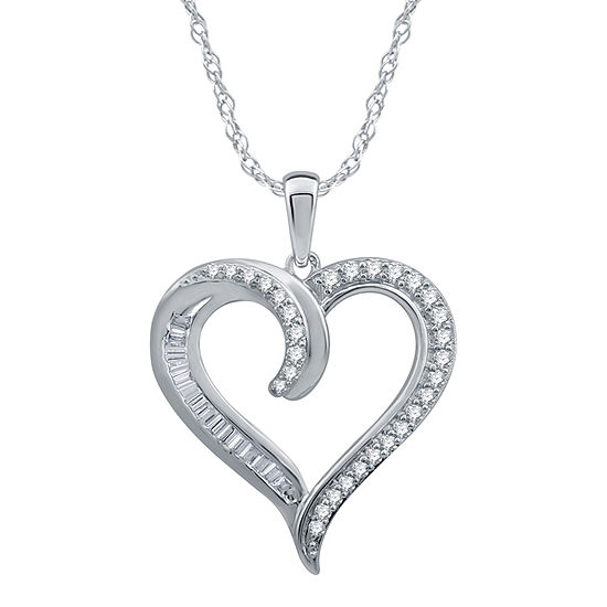 Womens 1/2 CT. T.W. Genuine Diamond 10K White Gold Heart Pendant Necklace