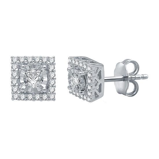 1/3 CT. T.W. Genuine White Diamond Sterling Silver 6.7mm Stud Earrings