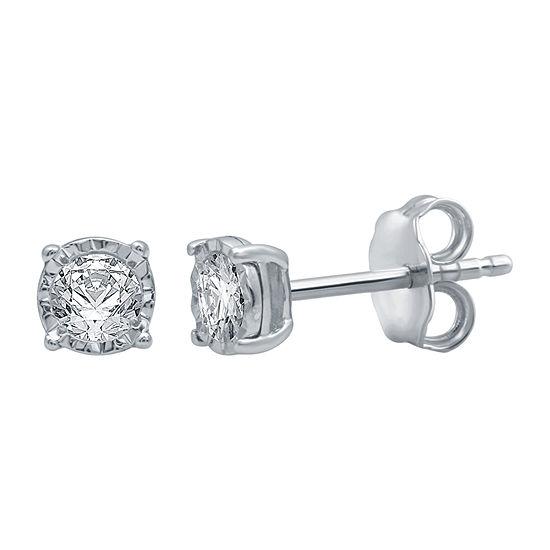 1/5 CT. T.W. Genuine White Diamond 10K White Gold 5.3mm Stud Earrings
