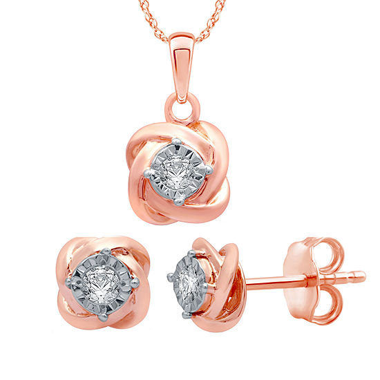 1/6 CT. T.W. Genuine White Diamond 14K Rose Gold Over Silver 2-pc. Jewelry Set