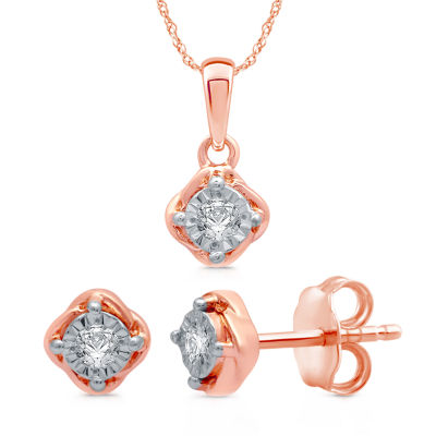 1/6 CT. T.W. Genuine White Diamond 14K Rose Gold Over Silver 2-pc. Jewelry Set