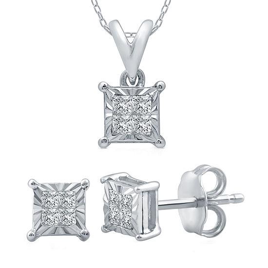 1/5 CT. T.W. Genuine White Diamond Sterling Silver 2-pc. Jewelry Set