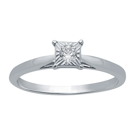 Womens 1/10 CT. T.W. Genuine White Diamond Sterling Silver Solitaire Engagement Ring, 9 , No Color Family - 27331160109