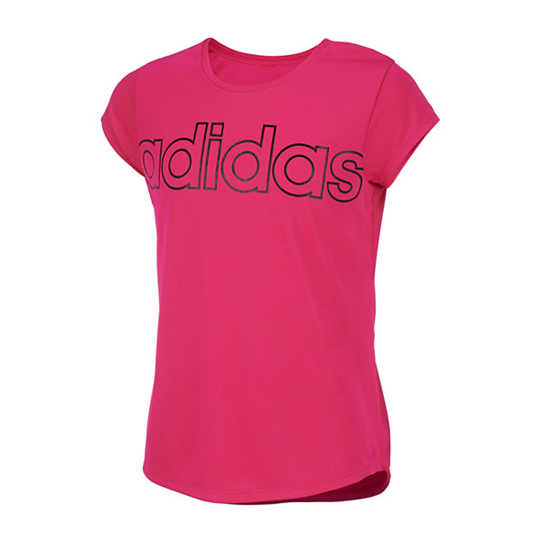 adidas Girls Round Neck Short Sleeve Graphic T-Shirt - Big Kid