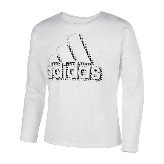 adidas Girls Round Neck Long Sleeve Graphic T-Shirt - Big Kid