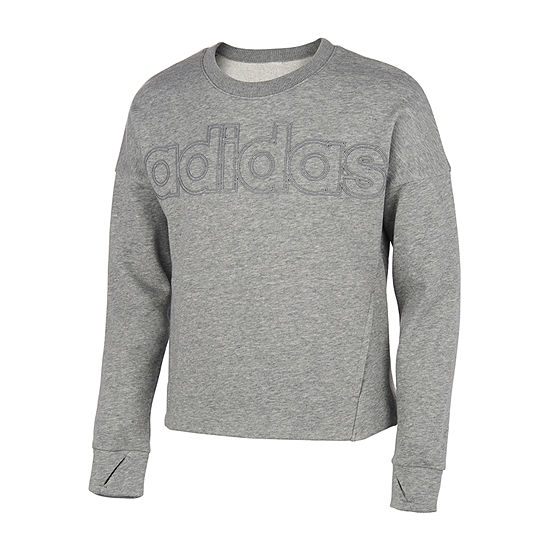 adidas Girls Round Neck Long Sleeve Sweatshirt - Big Kid