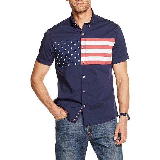 IZOD Mens Short Sleeve Button-Front Shirt