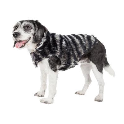 Pet Life ® Luxe 'Chauffurry' Beautiful Designer Zebra Patterned Mink Fur Dog Coat Jacket