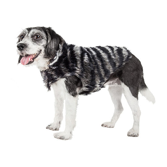 Pet Life ® Luxe 'Chauffurry' Beautiful Designer Zebra Patterned Mink Fur Dog Coat Jacket