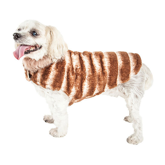 Pet Life ® Luxe 'Tira-Poochoo' Tiramisu Patterned Faux Mink Dog Coat