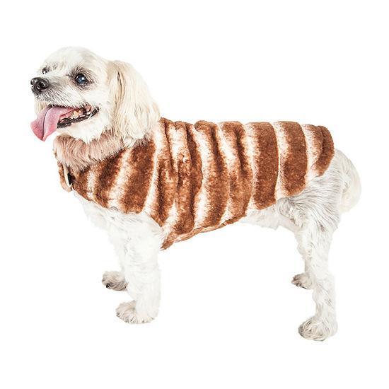 Pet Life ® Luxe 'Tira-Poochoo' Tiramisu Patterned Mink Dog Coat Jacket