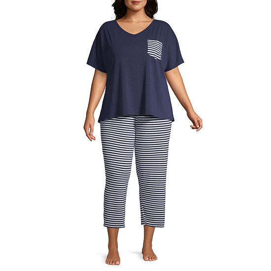 Liz Claiborne Womens-Plus Pant Pajama Set 2-pc. Short Sleeve