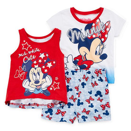 Disney 3 Pc Short Set Baby Girls