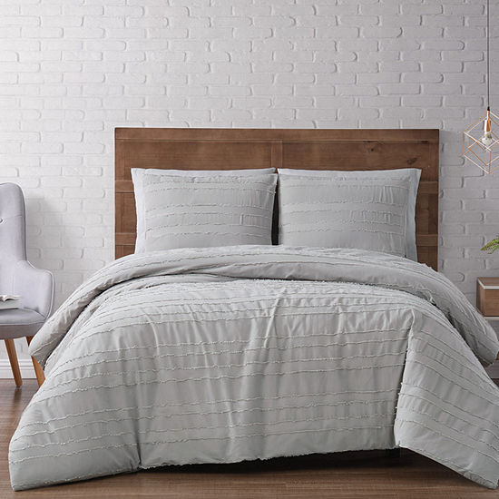 Brooklyn Loom Carlisle Stripe Solid Duvet Cover Set