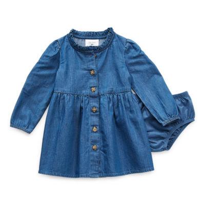 Okie Dokie Baby Girls Long Sleeve A-Line Dress