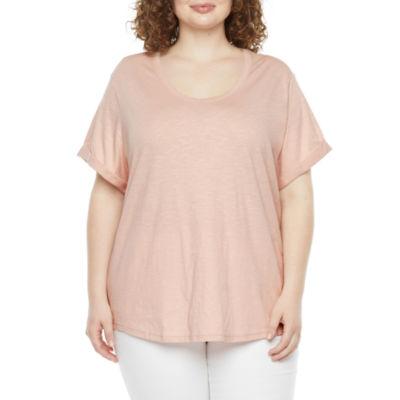 a.n.a Plus Womens Round Neck Short Sleeve T-Shirt