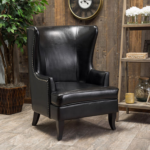 Canton High-Back Bonded Leather Wing Chair with Nailhead Trim