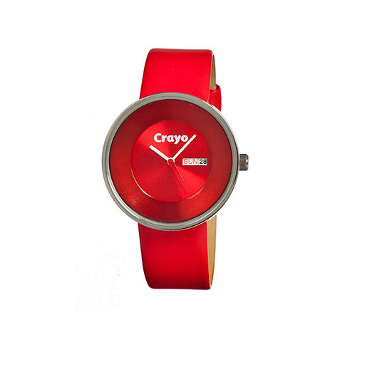 Crayo Unisex Button Red Leather-Band Watch With Day&Date Cracr0206