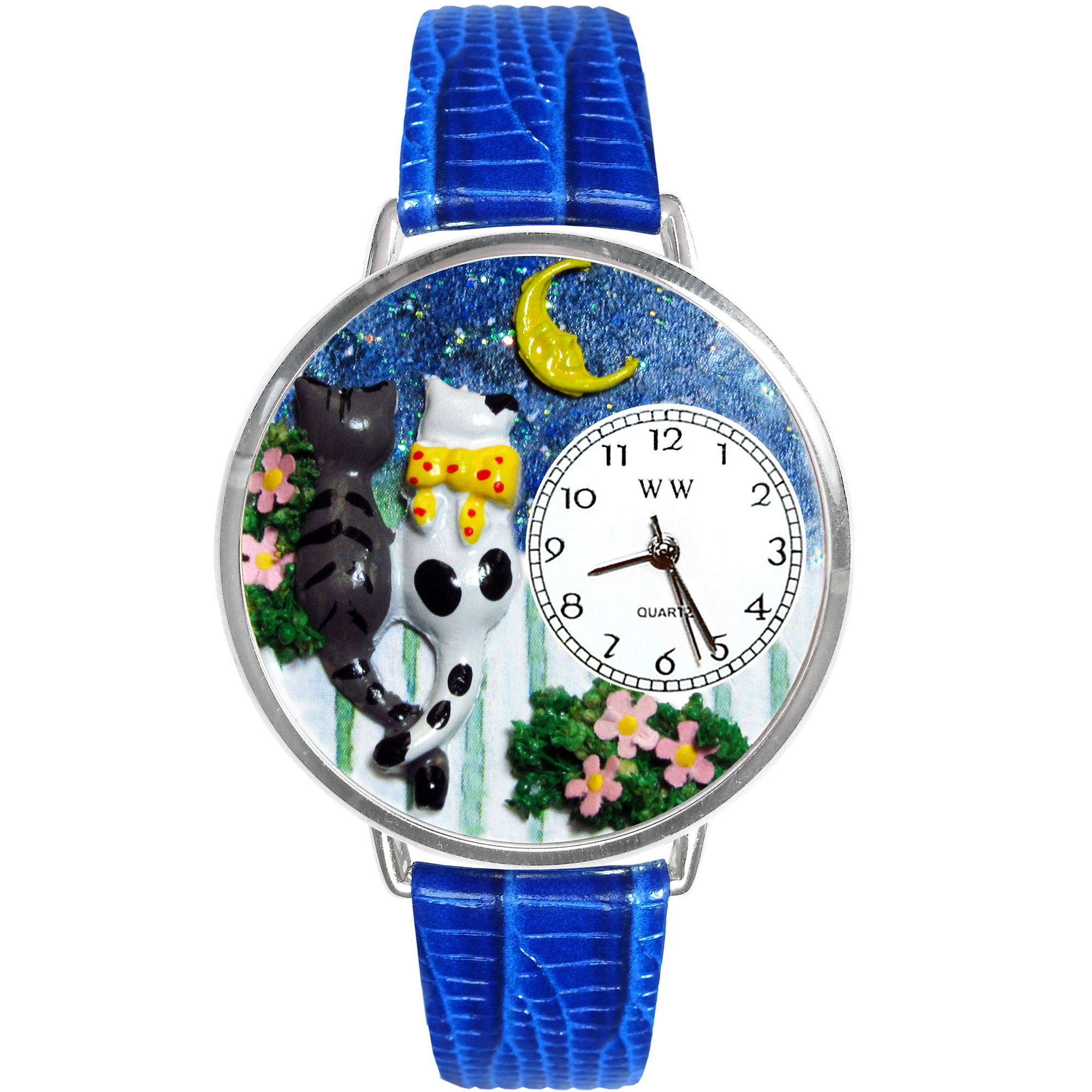 Whimsical Watches Personalized Cat Night Out Womens Silver-Tone Bezel Blue Leather Strap Watch
