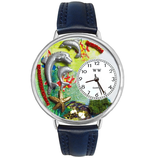 Whimsical Watches Personalized Dolphin Womens Silver-Tone Bezel Blue Leather Strap Watch